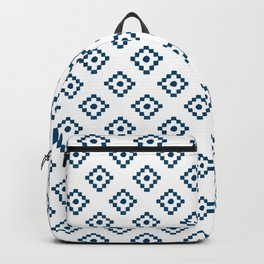 Geometrical abstract hand painted navy blue pattern Backpack