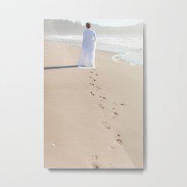 Foot Prints in the Sand Metal Print