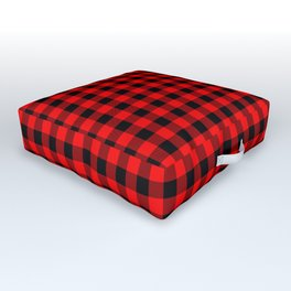Mini Red and Black Coutry Buffalo Plaid Check Outdoor Floor Cushion