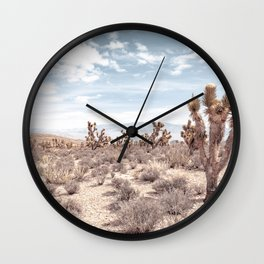 Vintage Deset Landscape // Joshua Tree Cactus Dusty Blue Sky and Mountains Wall Clock
