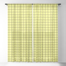 Lemon Yellow with Black Grid Sheer Curtain