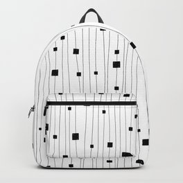 Squares and Vertical Stripes - White and Black - Hanging Backpack