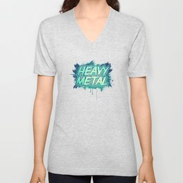HEAVY METAL! ( Green Splatter Typo Design ) Unisex V-Neck