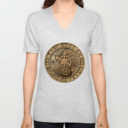 Steampunk clock gold Unisex V-Neck