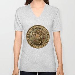 Steampunk clock gold Unisex V-Neck