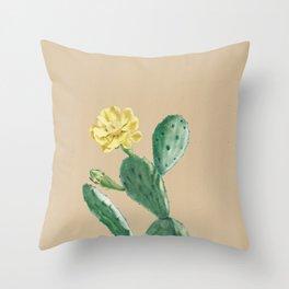 Green Cacti with Tan Background - Botanical Cactus Throw Pillow