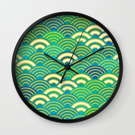 abstract scales simple Spring Nature background with japanese circle Wall Clock