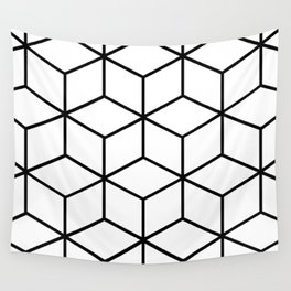 Black and White - Geometric Cube Design I Wall Tapestry