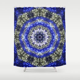 Happy Blues - blue and white kaleidoscope from lighted trees 1430 Shower Curtain
