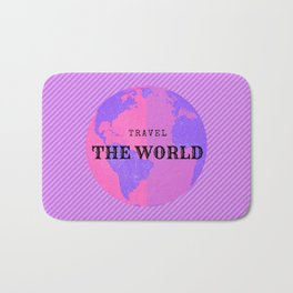 TRAVEL THE WORLD, illustration in pink and purple tones Bath Mat
