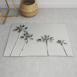 Black Palms // Monotone Gray Beach Photography Vintage Palm Tree Surfer Vibes Home Decor Rug