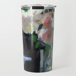 Still Life with White & Pink Roses Travel Mug