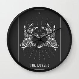 Minimal Tarot Deck The Lovers Wall Clock