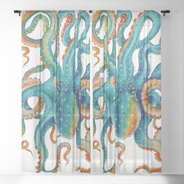 Octopus Teal Watercolor Ink Sheer Curtain