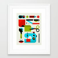 sewing Framed Art Prints featuring Sewing Kit by koivo