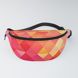 Hot Pink Bright Orange Diamond Triangles Mosaic Pattern Fanny Pack