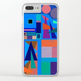 Blue Town Square Clear iPhone Case