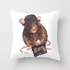rat, journalist, office rat, rat in hat, cheeky rat, British, funny rat Throw Pillow
