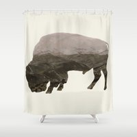 bison Shower Curtains featuring Bison by James Wetherington