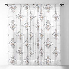 Art deco'ish fractal flower ornament Sheer Curtain