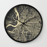 memphis Wall Clocks featuring Memphis map by Map Map Maps