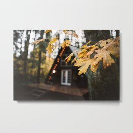 A-Frame Cabin in the Woods Metal Print