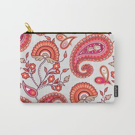 Paisley Pattern (ice blue and orange) Carry-All Pouch