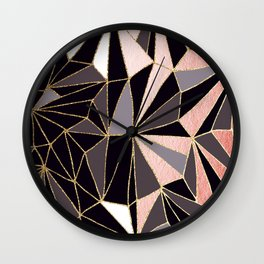 Stylish Art Deco Geometric Pattern - Black, Coral, Gold #abstract #pattern Wall Clock