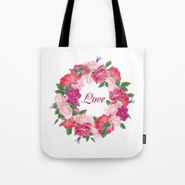 Floral wreath with rose and leaves Tote Bag