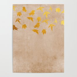 Gold leaves on grunge background - Autumn Sparkle Glitter design Poster