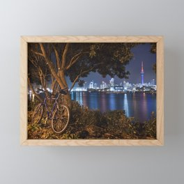 Auckland cityscape bicycle break after dark Framed Mini Art Print