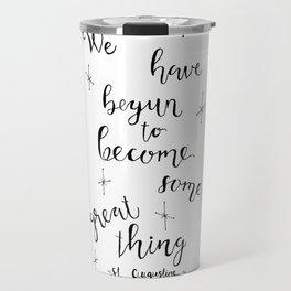 Some Great Thing: Black and White Travel Mug