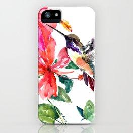 Hummingbird and Hibiscus, tropical Hibiscus design iPhone Case