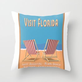 Florida Vintage Travel Poster Throw Pillow