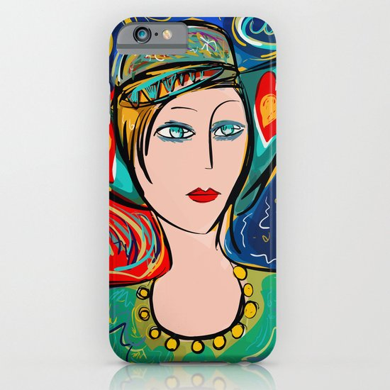 pop girl art deco with hat and hearts iphone ipod case by emmanuel signorino society6. Black Bedroom Furniture Sets. Home Design Ideas