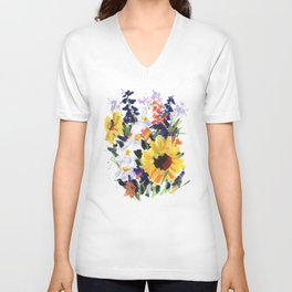 Sunflower Bouquet Unisex V-Neck