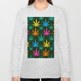 Colorful Marijuana weed Long Sleeve T-shirt