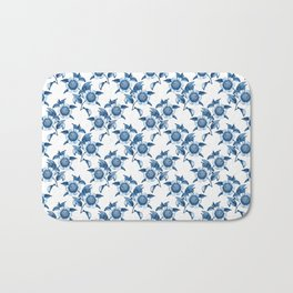 Blue Flowers Elegant Pattern Bath Mat