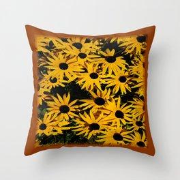 Sunshine Black Eyed Susan Flower Blossoms Throw Pillow