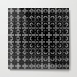 Dark Black and White Interlocking Square Pattern Metal Print