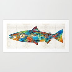 Fish Art Print - Colorful Salmon - By Sharon Cummings Art Print