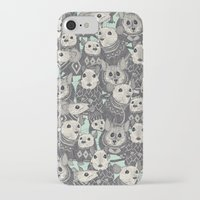 sweater iPhone & iPod Cases featuring sweater mice mint by Sharon Turner