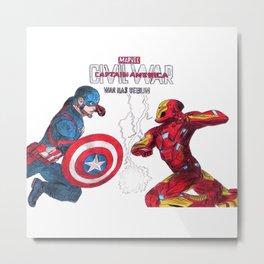 Ciwil War - Caption America vs Iron Man Metal Print