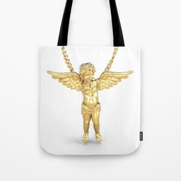 Gold Angel Pendant and Chain Trompe L'oeil Tote Bag
