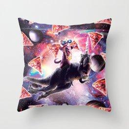 Thug Space Cat On Dinosaur Unicorn - Pizza Throw Pillow
