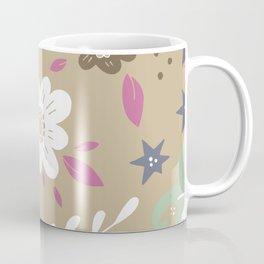 Flowers and butterflies In Brown Pattern Coffee Mug