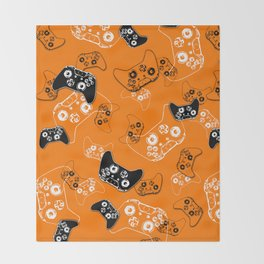 Video Game Orange Throw Blanket