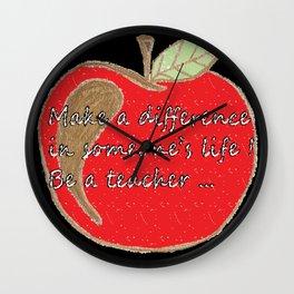 Red apple inspiring teacher print Wall Clock