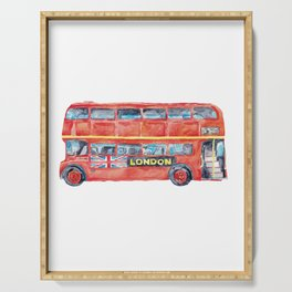 Double-decker Bus London print Red Kids room wall decor painting watercolour ink Art Illustration boy girl car vehicle Nursery Double Decker Serving Tray
