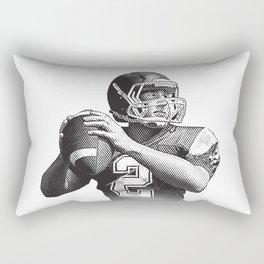 Quarterback setting up for a pass down field. Rectangular Pillow